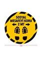 Artikel Sosyal Mesafe Uyarı Etiket Sticker-39 Yuvarlak 70 Cm Renkli